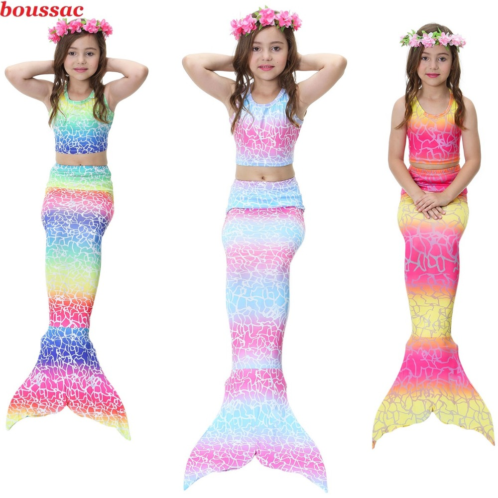 4PCS/Set The Little Mermaid Tail Costume Party Dress Princess Ariel Children Mermaid Tail Cosplay Kids For Girl Fancy Swimsuit