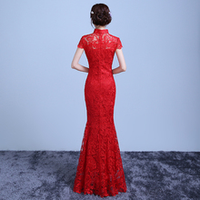 Red Lace Long Cheongsam Chinese Traditional Dress Women Modern Qipao Dresses Robe Orientale Evening Wedding Gown Qi Pao YYQP