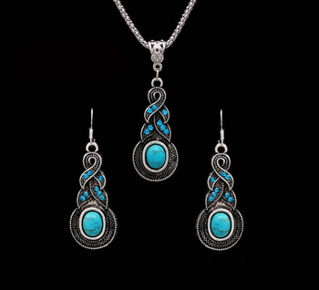 Bohemian Tibetan Silver Color African Beads Crystal Necklace Earrings  Jewelry Sets 1