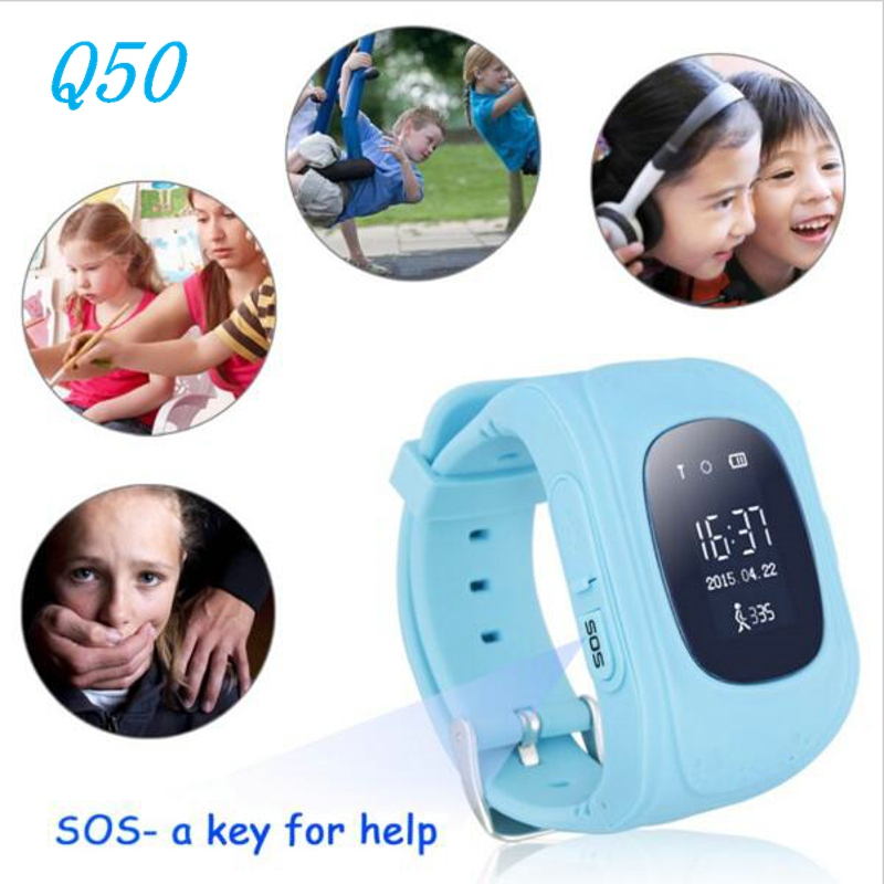 GPS Trackers: 2016 Q50 GPS Tracker Watch For Kids SOS GSM Mobile Phone App For Android Emergency Anti Lost GSM Smart Bracelet Wristband Alarm