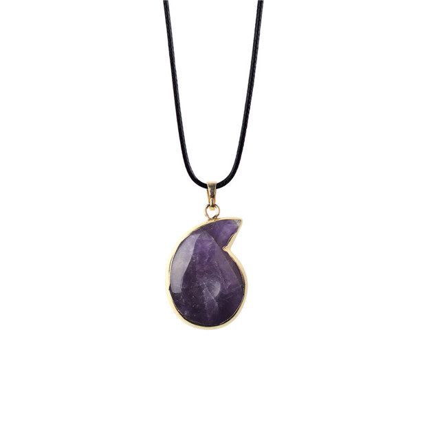 Purple green aventurine necklace leather chain natural quartz stone purple green aventurine necklace leather chain natural quartz stone amulet pendant necklace online shopping india aloadofball Image collections