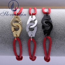 Регулируемый Браслет-манжета из серебра 925 пробы для женщин, винтажный браслет из стерлингового серебра с Красной веревкой