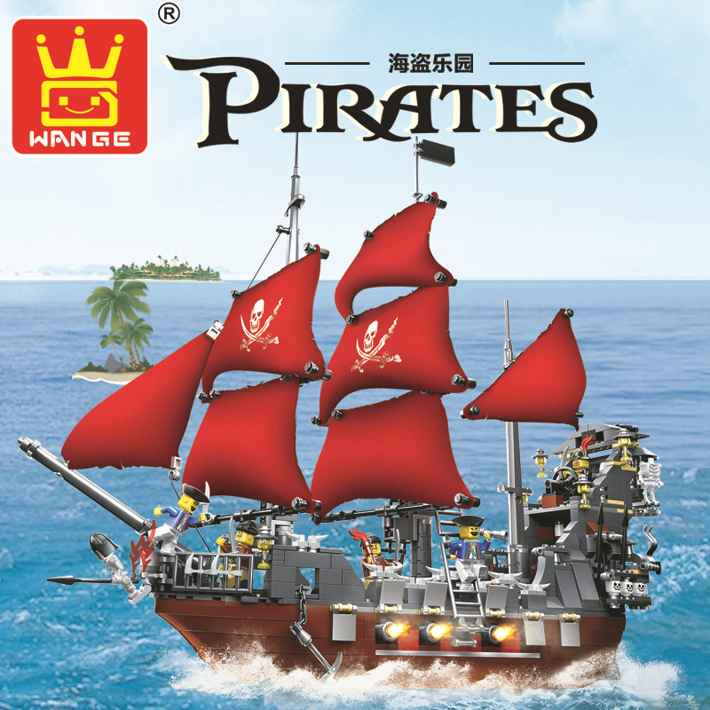 Model building kits compatible with lego city Pirates ship king 3D blocks Educational model building font