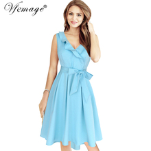 Vfemage Womens Elegant Ruffles Frill Belted Bow Vintage Retro Tunic Pleats Slim Casual Work Party Swing A-line Skater Dress 6425
