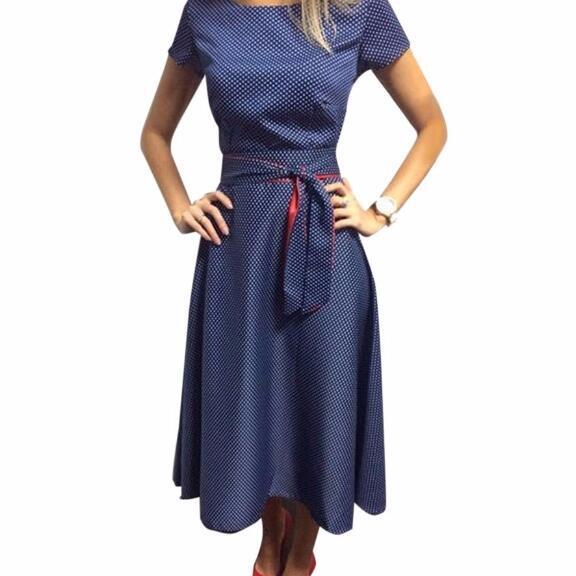 Лето 2017 г. платье в горошек Винтаж платье короткий рукав пикантные Для женщин платье миди Повседневное Платья для вечеринок Vestidos плюс Размеры GV173