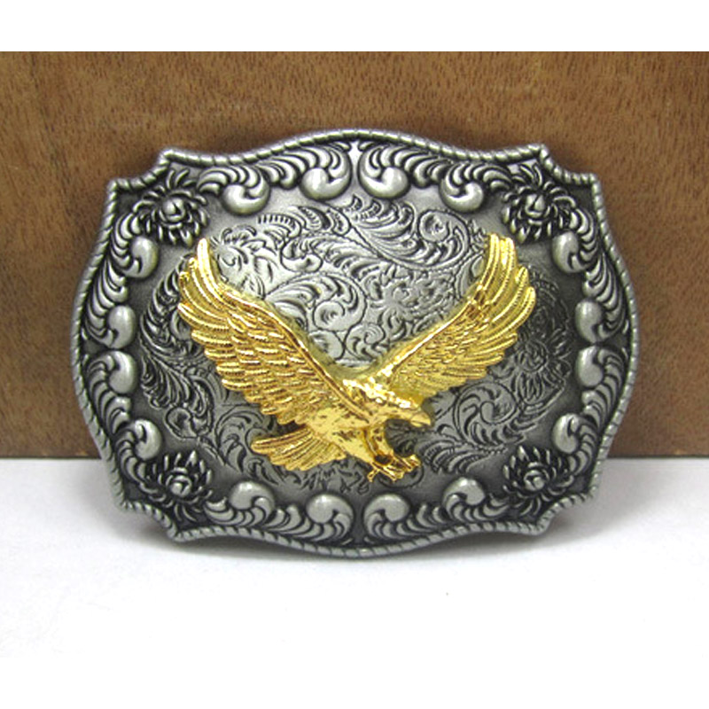 Retro Metal Carving Алтын Орел West Cowboy Belt Buckle Super Cool Male Logo Jeans Аксессуарлар Fit 3.8CM-4CM Belt Best Man Gift