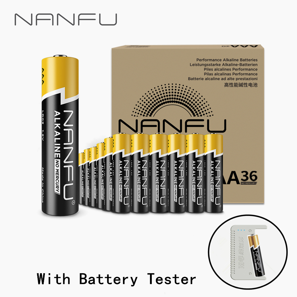 NANFU 36 Pcs/Set AA Alkaline Battery with Tester LR6 1.5V for Clocks Game Controller Toys Electronic Device Mouse 2Abattery