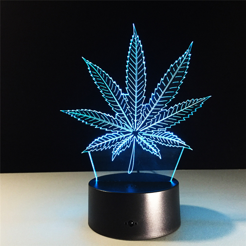 Acrylic 7 Color Changing leaf 3D LED nightlight of bedroom lamp livingroom lights desk table Decor Night Light Kid Gift
