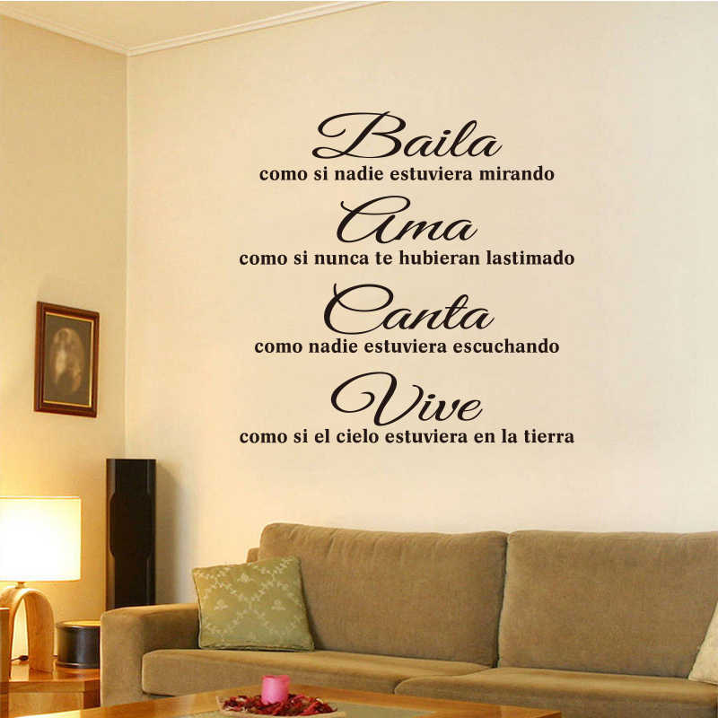Spanish Maxim Baila Ama Canta Vive Vinyl Wall Stickers Living Room Bedroom Mural Stickers Home Decoration House Decorationdw0986