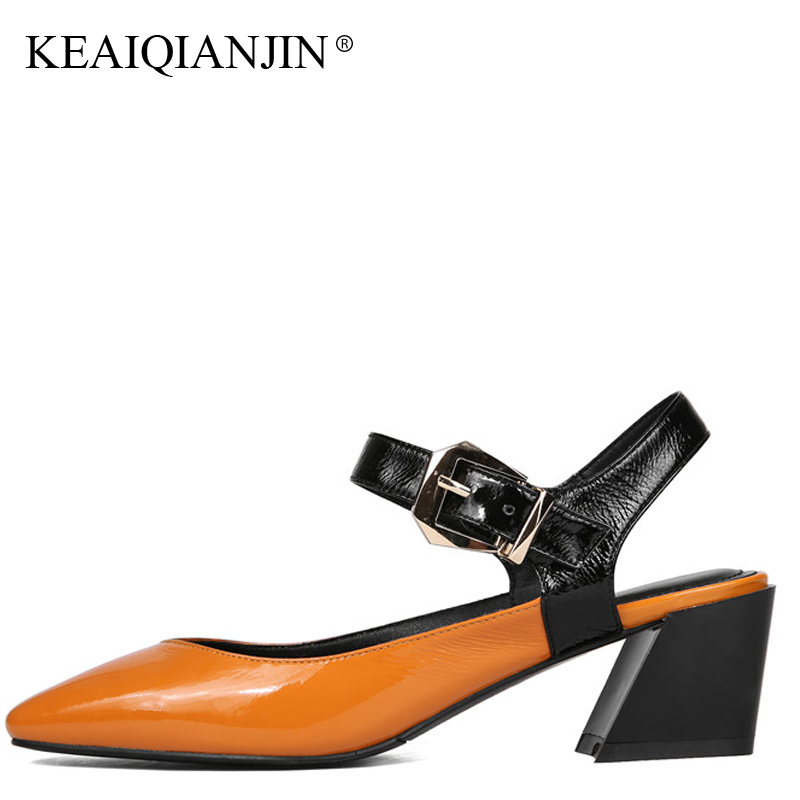 KEAIQIANJIN Woman Genuine Leather Sandals Sexy Green High Heels Shoes Plus Size 33 - 43 Orange Patent Leather Sandals 2018