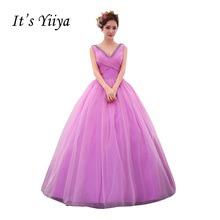 It's Yiiya Purple V-neck Wedding Dresses Ball Gown Appliques Floor Length Color Bridal Frocks Vestidos De Novia Casamento HL028