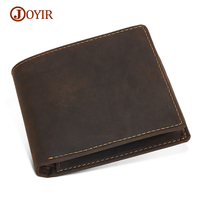 JOYIR 2017 Vintage Designer Genuine Leather Men Slim Thin Mini Wallet Male Coin Purse Money Clip