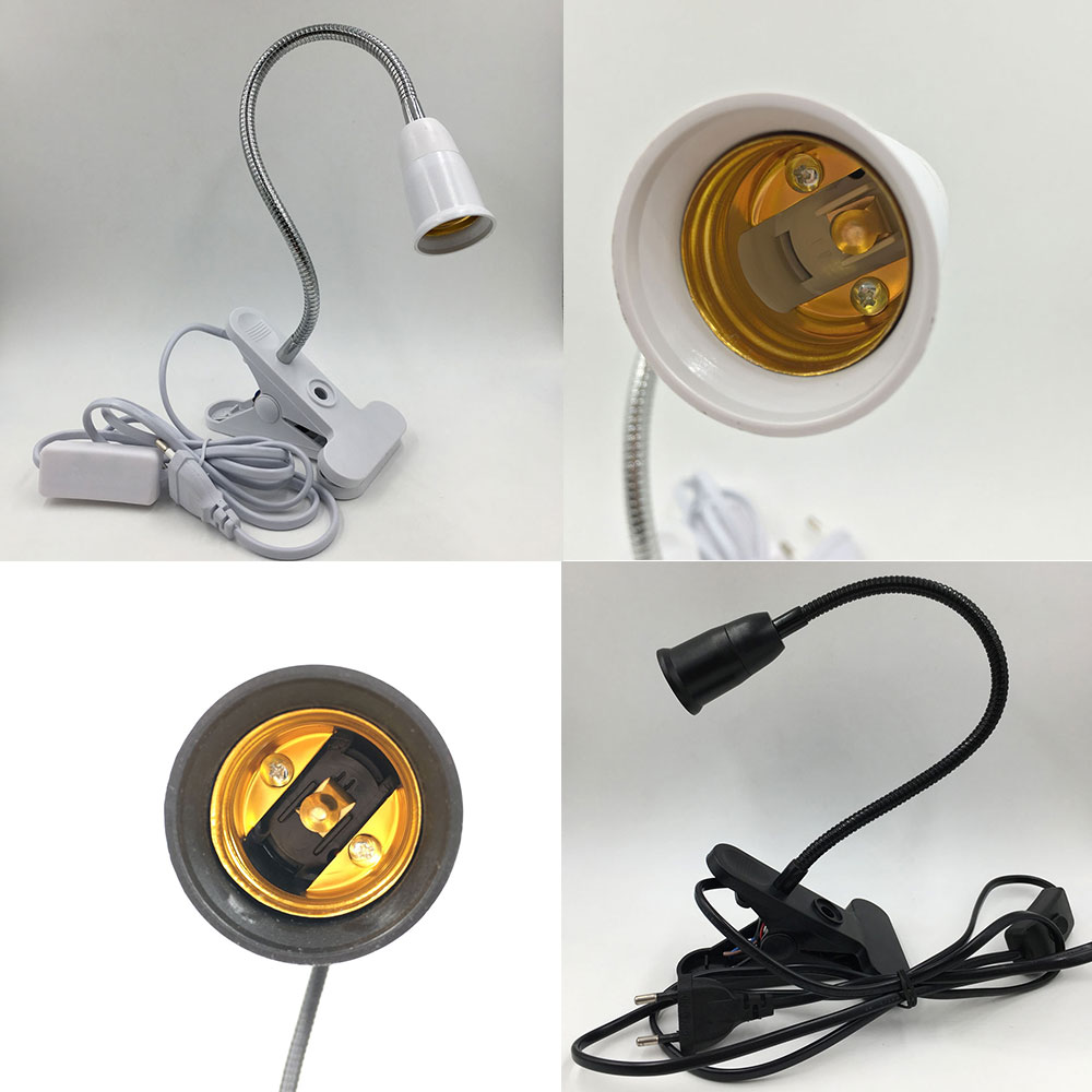 360 Degrees Flexible Lamp Holder Clip E27 Base with On off Switch EU Plug use as Simple Desk Lamp for led grow light e27 lamp
