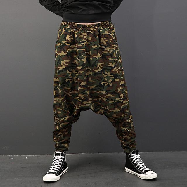 Plus Size Mens Pants Fashion Drop Crotch Harem Pants Male Baggy Hip-hop Dance Joggers Camouflage Print Casual Trousers Men 2018
