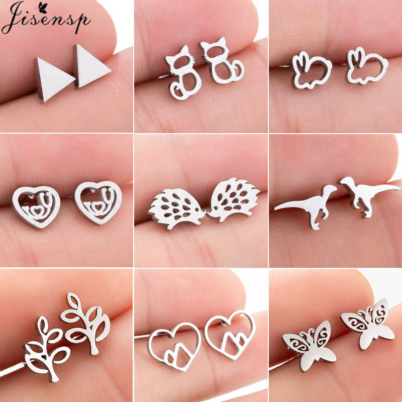 Jisensp Stainless Steel Cute Butterfly Stud Earrings for Women Kids Jewelry Fashion Tree Cat Rabbit Earrings Black Earing brinco