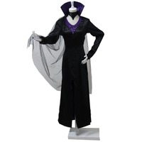 2018 Halloween Women Cosplay Party Costume Maleficent Dress Gothic Long Dress Witch Vampire Carnival Costumes With Collar