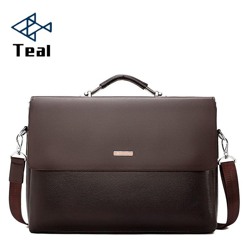 2019 Mode-business Männer Aktentasche Leder Laptop Handtasche Tote Casual Mann Tasche Für Männliche Schulter Tasche Männlichen Büro Messenger Tasche