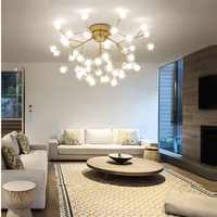 Modern Led Ceiling Chandeliers Lighting black/gold tree branch Ceiling Mount Kids Lamps ball glass shades lights For Living Room