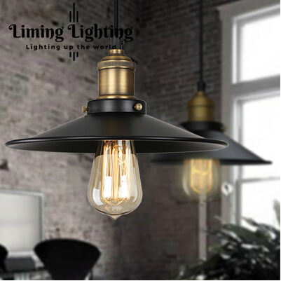 RH Loft Vintage Copper Base Edison LED Bulb Iron Shade Ceiling Hanging Industrial Pendant Lamp Light Lighting E27/E26 110V/220V industrial vintage iron wheel shade ceiling light pendant lamp bulb fixture chandelier bulb not included