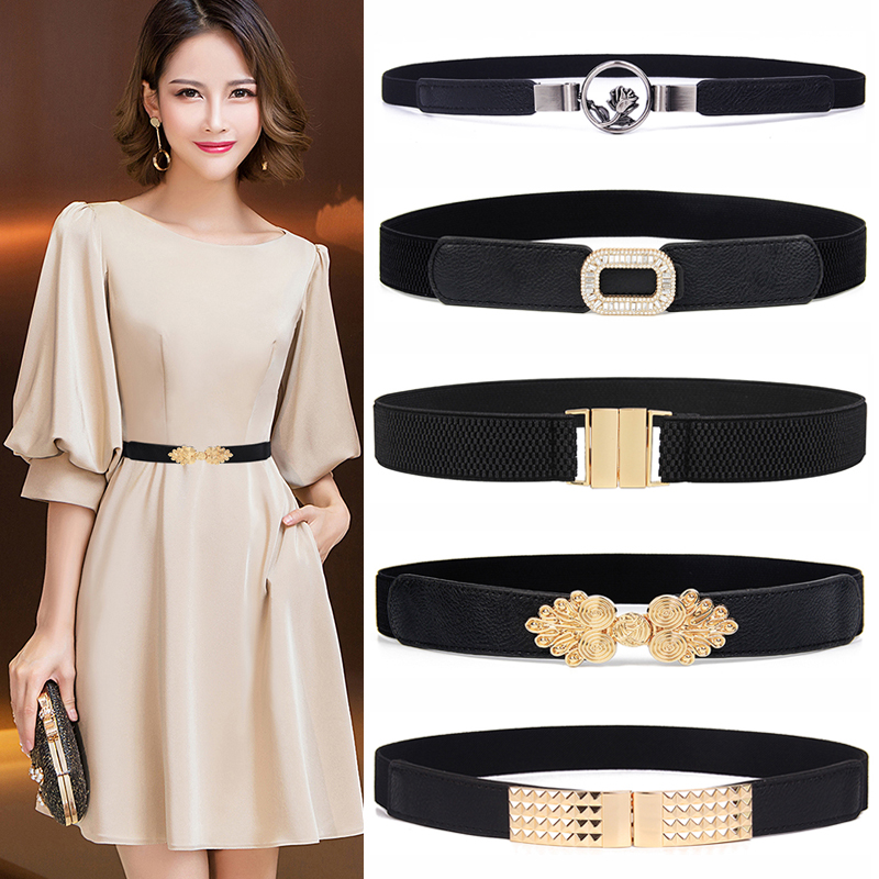 Charming Black Elastic Waistbands Thin Strench Cummerbunds For Women Dress Wedding Accessories Fashion Flower Buckle Alloy Gold