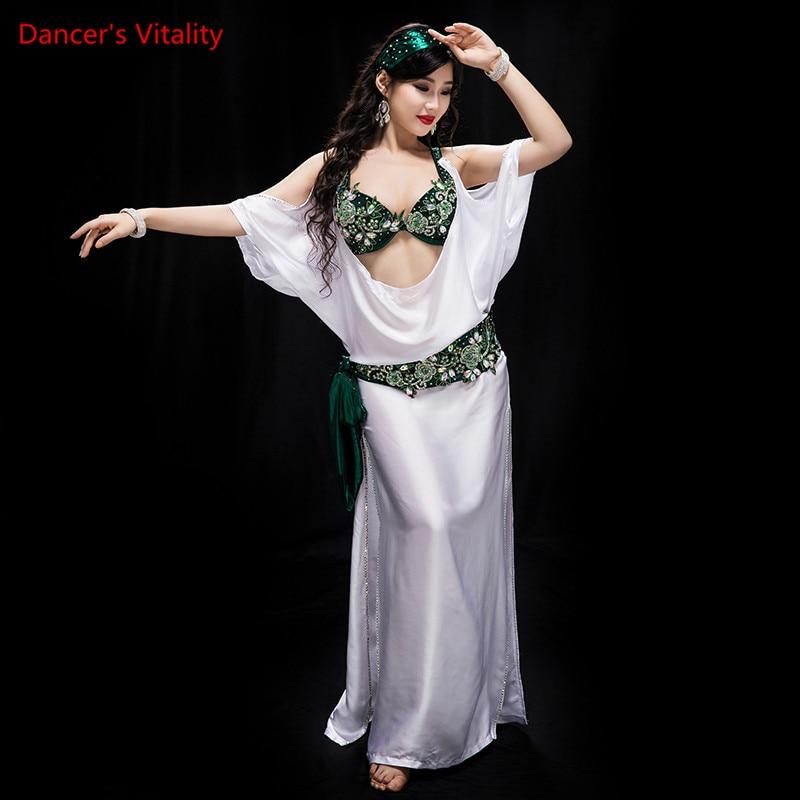 new professional baladi imitation silk costume contest show dress stage of wear white 5 piece set