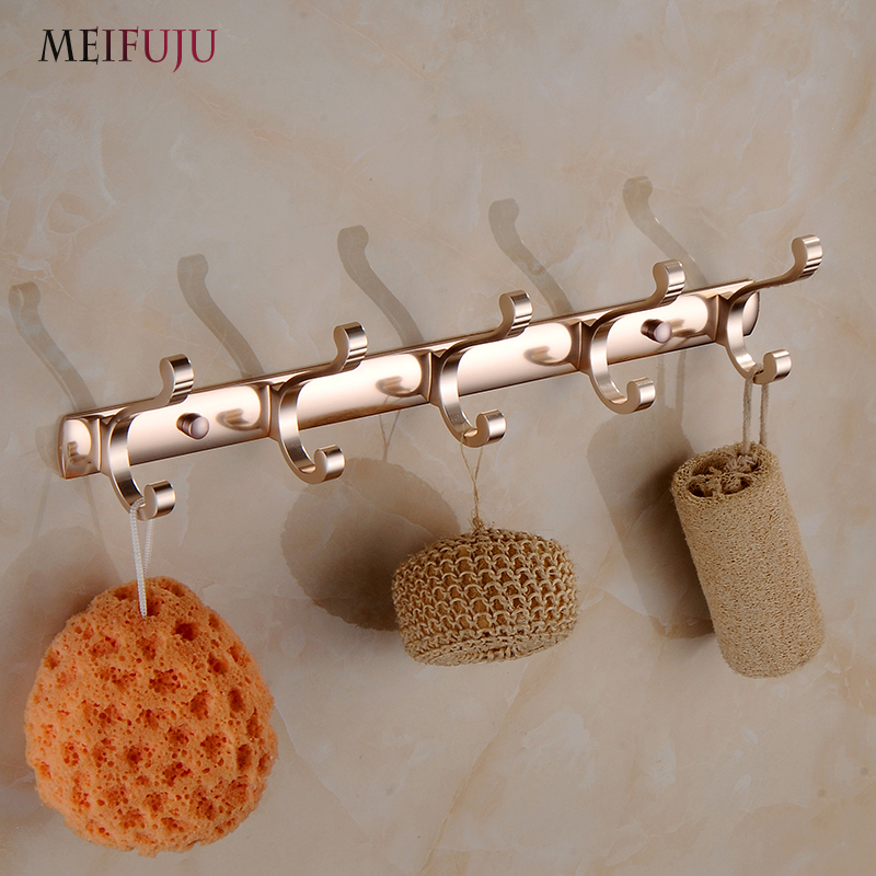 Meifuju Aluminum Clothes Hanger Towel Coat Robe Hook Decorative Bathroom Hooks Wall Mounted Free