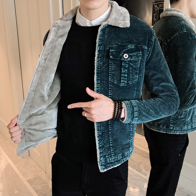 Cotton Jacket Male 2019 Winter Men's Thick Corduroy Jackets Man  Lamb Fur Lapel Long Sleeve Cotton Jacket Male