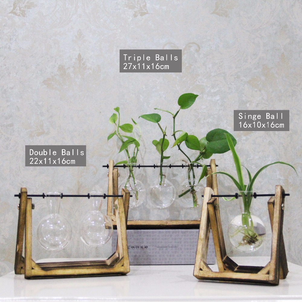 Vintage style glass tabletop plant bonsai flower wedding decorative vintage style glass tabletop plant bonsai flower wedding decorative vase with wooden tray home decoration accessories junglespirit Image collections