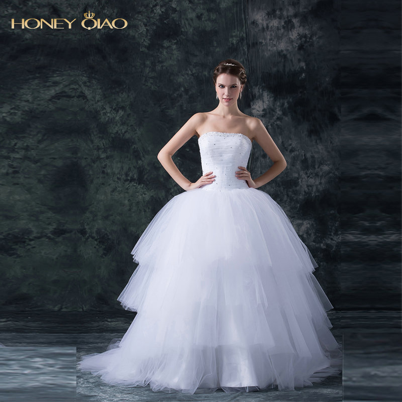 Honey Qiao Boho Tulle Wedding Dresses Strapless Tiered