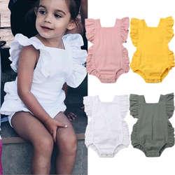 Новорожденных для маленьких девочек Ruffled Solid Цвет комбинезон без рукавов с открытой спиной комбинезон женский пляжный костюм