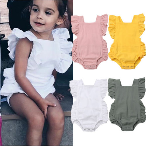 Newborn Baby Girl Ruffled Solid Color Sleeveless Backless Romper Jumpsuit Outfit Sunsuit