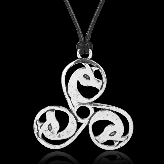 Mqchun celtic trinity knot triskele triskelion medieval dragon mqchun celtic trinity knot triskele triskelion medieval dragon pendant vintage silver color triple dragons necklace rope aloadofball Image collections