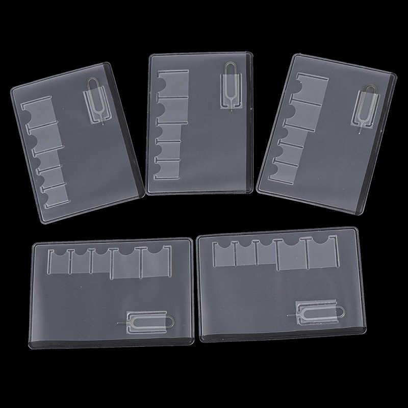 Caja de la caja de la tarjeta Sim de 5 piezas Protector transparente portátil para la Transparencia Universal de la tarjeta de memoria Sim