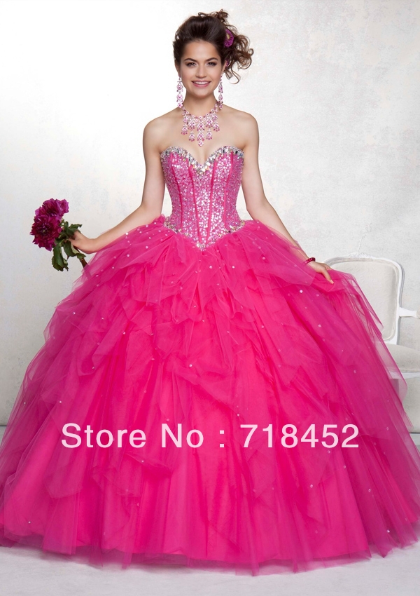 Aliexpress.com : Buy 2013 New Fashion Hot Pink Quinceanera Dresses ...