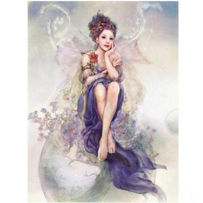 Youran bricolage diamant peinture dessin animé fleur fée papillon fille motif diamant mosaïque Kit enfants chambre mur autocollant décoration