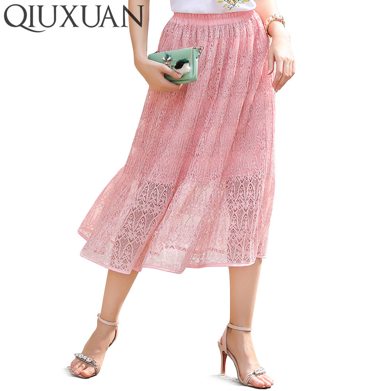 Wholesale 2017 Summer Vintage Long Lace Skirt with Lining Sweet Elastic Casual High Waist Midi Skirts