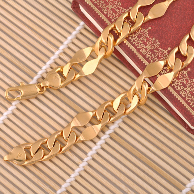 (600*15mm)Trendy chunky necklaces Men  Gold Plated (24inch)  Made by Lead and Nickel Free Copper