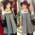 2016 весна и осень Корейской моды большой размер шерсть платье материнства шерстяное пальто одежда для беременных женщин