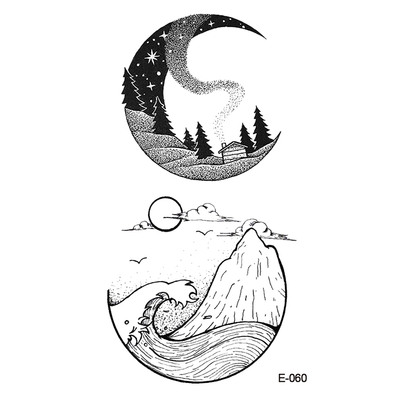 Wyuen New Design Moon Ocean Mountain Fake Tattoo Temporary