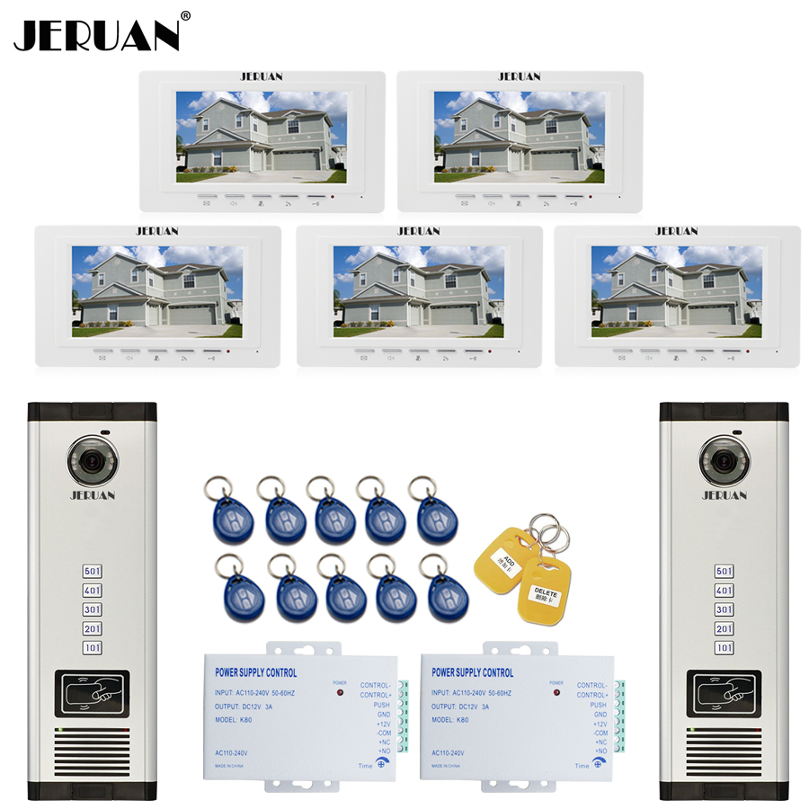 JERUAN 7`` LCD Video Intercom Door Phone system RFID Access Entry Security Kit For 2 Apartment Camera(5 button) to 5 monitor jeruan apartment 4 3 video door phone intercom system kit 2 monitor hd camera rfid entry access control 2 remote control
