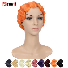 AOSIWIG Short Finger Waves Hair Wigs Synthetic Heat Resistant Fiber Natural Black For Women