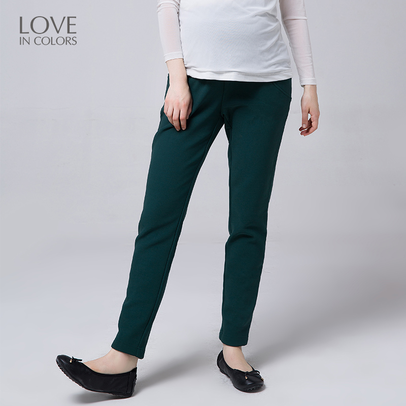Loveincolors New Fashion Maternity Women Pants Cotton Winter Warm Adjustable Support Belly Pocket Solid Pregnant Women Pants inc new solid deep black women s size 2 tapered leg two pocket pull on pants $69