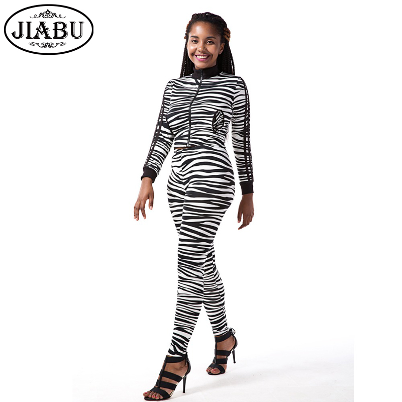 Zebra Striped Printed Pocket Jumpsuits Long Sleeve Zipper Turtleneck Womens Rompers Bodycon Plus Size Bodysuit Femme De Mujer