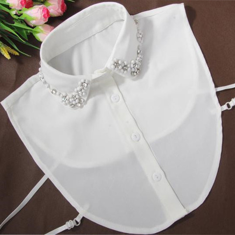 Korean fashion fake collar pearl half Fake Collar White Half Shirt Detachable Fake Collar Blouses Peter pan Detachable Collar Pakistan