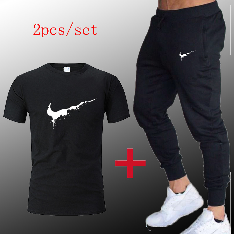 2019 Sport Suit Men T-shirt + Pants Sports Suits Gym Sportswear Mens Autumn Fitness Tracksuits Running Set Jogging Tracksuit