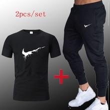 2019 Sport Suit Men T-shirt + pants Sports Suits Gym sportswear Mens Autumn Fitness Tracksuits Running Set Jogging Tracksuit