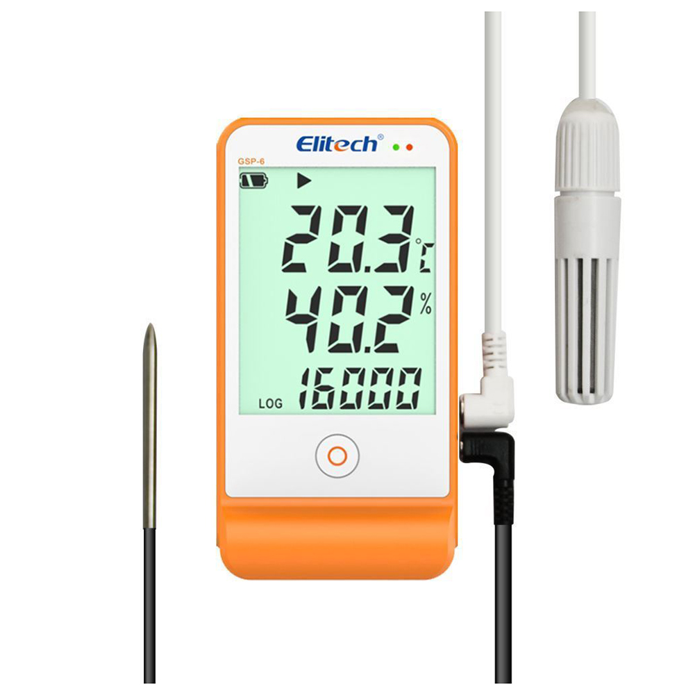 Elitech Data Logger GSP-6 Temperature and Humidity Recorder 16000 Points Refrig elitech temperature and humidity wifi data logger temp and humidity wireless remote thermometer recorder for refrigerator