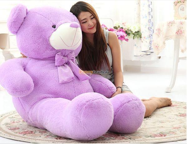 Fancytrader 1 pc 63\'\' 160cm Giant Cute Stuffed Soft Plush Lovely Fat Lavender Teddy Bear, Free Shipping FT50741 (4)