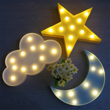 JAYOR Lovely 3D Night Light Cloud Star Moon  LED Night Light Cute Marquee Sign For Baby Children Bedroom Decor Kids Gift Toy cloud moon star sun led baby night lights kid room decorations