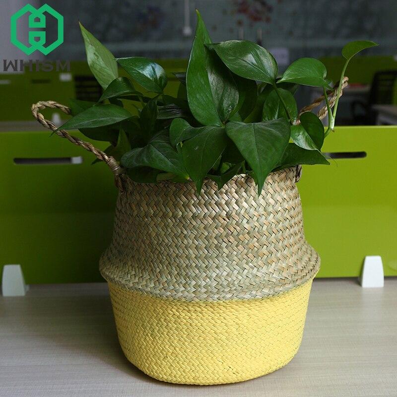 WHISM Wickerwork Storage Basket Handmade Seagrass Flower Pot Rattan Basket for Toys Folding Baskets Home Storage Organization